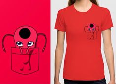 Tikki kwami Miraculous Ladybug pocket tee sold here: www.redbubble.com/people/slothgirlart and www.society6.com/slothgirlart Carry your own kwami in your shirt pocket XD