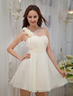 Champagne One-Shoulder Knee Length Flower Chiffon Homecoming Dress
