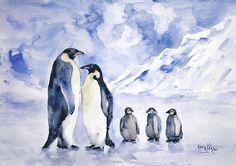 Penguin Painting - Penguin Family by Faruk Koksal Penguin Drawing, Penguin Art, Penguin Sketch, Animal Sketches, Animal Drawings, Art Drawings, Family Drawing, Family Painting, Watercolor Animals