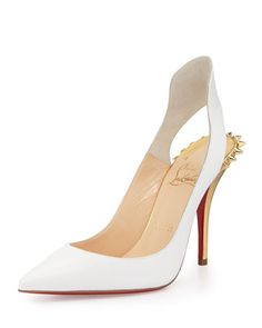 Christian Louboutin ~ Survivita Spike Red Sole Pump, White/Gold at Neiman Marcus.
