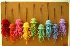 Hee, hee, close to my idea! Ravelry: Sweet Hanging Amigurumi Jellyfish pattern by Tori Carroll Cute Crochet, Crochet Crafts, Yarn Crafts, Crochet Baby, Knit Crochet, Rainbow Crochet, Crochet Amigurumi, Amigurumi Patterns, Crochet Toys
