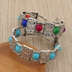 Free shipping Cuff Jewelry, Metal Jewelry, Bangle Bracelets, Bangles, Silver Color, Color Blue, Bohemian Bracelets, Shape Patterns, Stone Beads