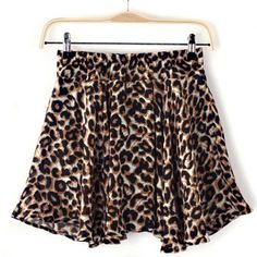 Leopard Print Wide Leg Elastic Waist Chiffon Stylish Women's Pantskirt