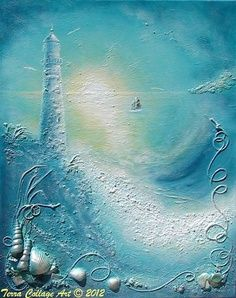 mixed media beach art - Google Search
