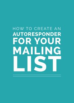 How to Create an Autoresponder for Your Mailing List - Email Marketing - Start your email marketing Now. - How to Create an Autoresponder for Your Mailing List by Lauren Hooker Social Marketing, Marketing Digital, Email Marketing Design, Email Marketing Strategy, Business Marketing, Email Design, Content Marketing, Internet Marketing, Business Tips