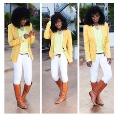 Yellow blazer to brighten the outfit.