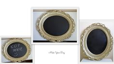 A chalkboard frame! Made with an old frame and spray painting. Now it gets some retro look :)