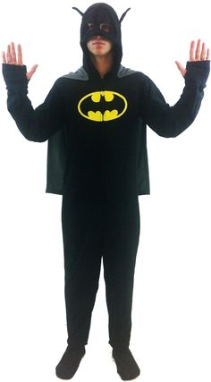DC Comics Batman 1 piece Footed Onsie Adult Black Pajama with Cape and Hooded Mask $34.95