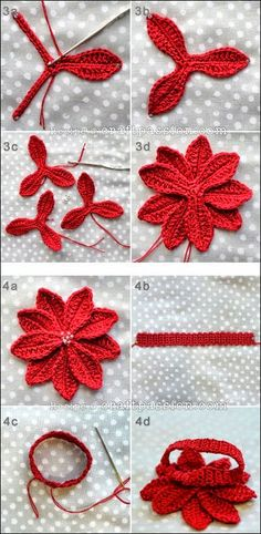 Crochet Poinsettia Flower F Freeform Crochet, Irish Crochet, Crochet Doilies, Hand Crochet, Crochet Stitches, Crochet Hooks, Free Crochet, Knit Crochet, Crochet Patterns