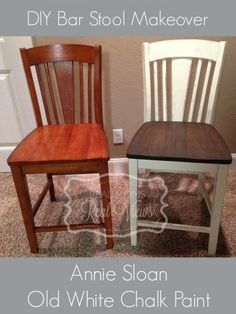 DIY bar stools painted and waxed with annie sloan old white chalk paint.