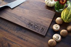 Geekery, Periodic Table Custom Engraved Wood Cutting Board - BaCoN - Science College Student or Teacher Gift, Chemistry Art Cooking Gift on Etsy, $35.00