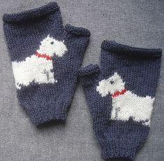 PDF knitting pattern for a pair of fingerless mitts/gloves with a Scottie dog on the front of each mitt. The palms of the mitts are plain.