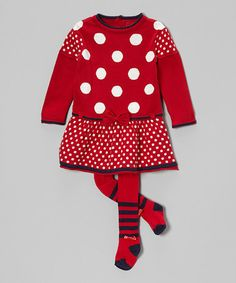 Love this Red & White Polka Dot Dress & Tights - Infant & Toddler by à petite échelle on #zulily! #zulilyfinds