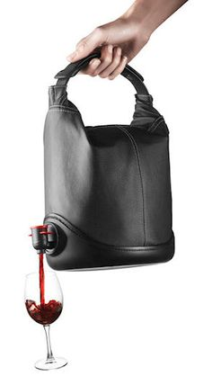 This portable wine purse would be a great gift for my wino friends lol All I Want For Christmas, Just In Case, Just For You, Wine Purse, Go Bags, All I Ever Wanted, Wine Time, Gretsch, Cool Gadgets