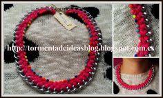 Colgante de cadena, trenzado en color rosa oscuro y decorado con 'strass' multicolor Precio: 6,50 €/unidad