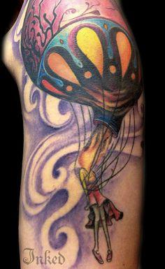 Tattoo by El Fibs. Hot air balloon flame head