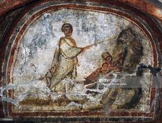 Stock Photo : 4th century fresco, Catacombs of Comodilla, Rome, Lazio, Italy