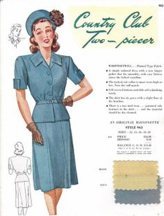 Maisonette salesman's sample card c. 1949. #vintage #1940s #fashion