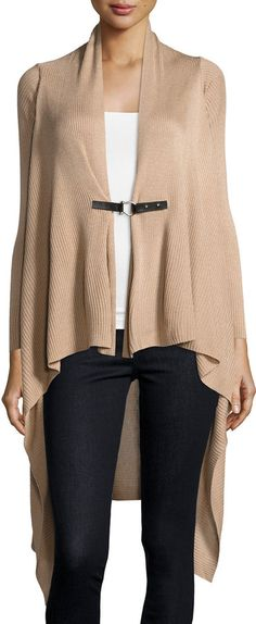 Neiman Marcus Long-Sleeve Ribbed Long Cardigan, Camel Hair
