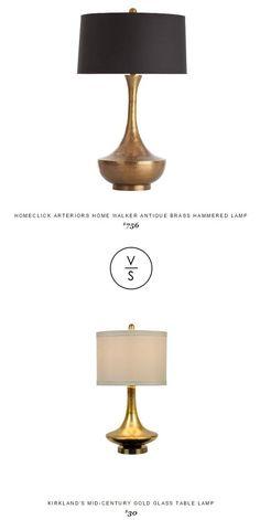 @homeclick Arteriors Home Walker Antique Brass Hammered Lamp $756 Vs @kirklandshome Mid-Century Gold Glass Table Lamp $30