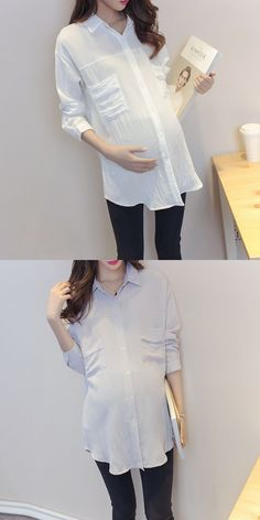 29d7c574c3492 Maternity Shirt Korean Blouse Clothes for Pregnant Women Long Sleeve  Maternity Blouses Pregnancy Clothing Y752 Maternity
