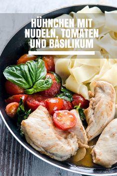 Heute habe ich für euch ein tolles #Rezept für #Hühnchen mit #Nudeln, Tomaten und Basilikum. Das Gericht ist super einfach zuzubereiten und ein perfektes #Mittagessen oder #Abendessen. Viel Spaß beim #Kochen! #Food #Essen #Pasta #Rezepte #Recipe #yummy #lecker #gesundessen #abnehmen Pasta, Camembert Cheese, Chicken, Food, Chicken Pasta, Eat Lunch, Food Dinners, Tomatoes, Meat