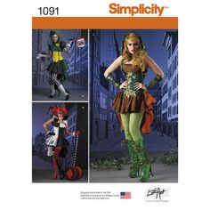 NEW Simplicity Costume Pattern 1091 Harley Quinn, Poison Ivy, Joker Sz 6-14 #Simplicity