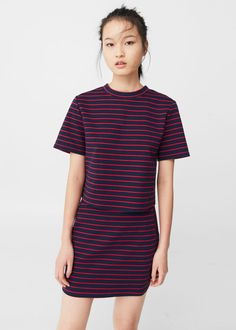 Falda algodón rayas | MANGO