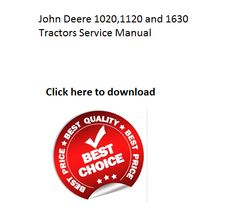John deere 1020 tractor service manual (sn 115,000l & up).