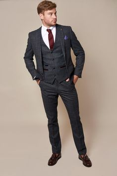 Tweed Wedding Suits, Wedding Suit Styles, Tweed Suits, Men's Suits, Stylish Suit, Casual Suit, Black Three Piece Suit, Pin Collar Shirt, Wine Colored Wedding