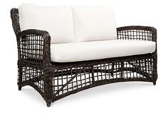 Open Weave Loveseat - Espresso/Off White by Outdoor Concepts Furniture on Outdoor Cushions, Outdoor Sofa, Outdoor Living, Outdoor Decor, Porch Furniture, Outdoor Furniture, Red Rooms, Open Weave, Eclectic Style