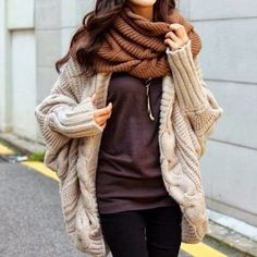 comfy & warm oversized knitwear, infinity scarf, baggy clothes, fall fashion, women, women clothes, clothes, brown, comfy clothes
