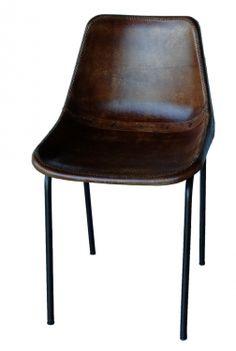 Stol med lädersits - Brun i gruppen Vintage / Stolar hos Reforma Sthlm  (ma0106)