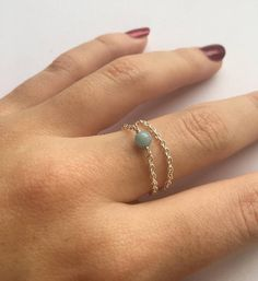 Morganite Simple dainty minimalistic chain ring stacking
