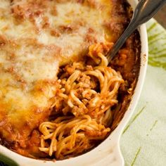 Amazingly delish! Substitute with good quality store bought sauce for a quicker version. Baked Spaghetti Recipe | Key Ingredient
