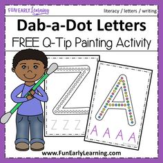 Dab-a-Dot Letters Q-Tip Painting! Fun free printable and alphabet activities for preschool, prek, and kindergarten! Great for learning letters and writing. Letter C Activities, Painting Activities, Kindergarten Activities, Preschool Activities, Motor Activities, Teaching Letters, Preschool Letters, Free Preschool, Preschool Printables