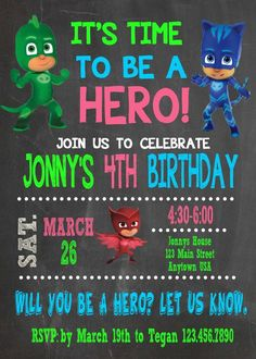 Pj Masks Invitation, Birthday, Printable, Pj Masks #jillscreativecreations #30thbirthday