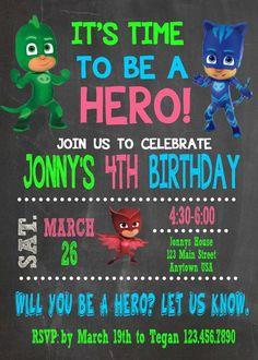 Pj Masks Invitation Birthday Printable