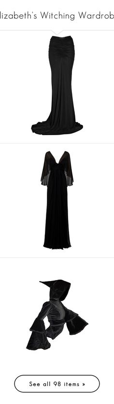 """""""Elizabeth's Witching Wardrobe"""" by elyzabeth-rose ❤ liked on Polyvore featuring skirts, bottoms, saias, black, long ruched skirt, ankle length skirt, gathered skirt, floor length skirts, ruched maxi skirt and dresses"""