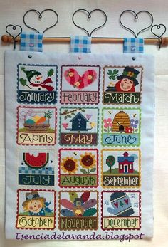 Lizzie Kate cross stitch months wall hanging
