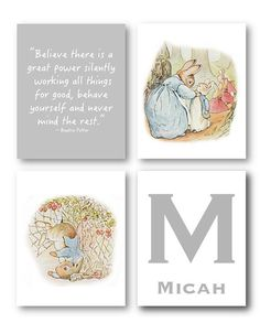 Peter Rabbit Nursery Decor // Baby Nursery Art Prints // Peter Rabbit Nursery Art // Beatrix Potter Art // Peter Rabbit Art PRINTS ONLY