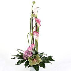 Silk Floral Arrangements Contemporary Flowers | Tall Arrangement of Tropical Pink Flowers