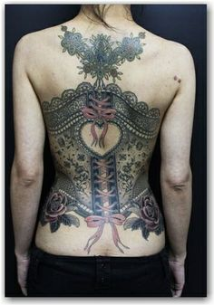 Lace tattoo.  I'd take out the bottom roses and no pink and get rid of the top design under the nape of the neck.