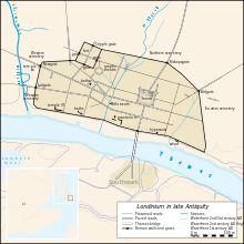 Vector map of Londinium in 400 AD ロンドン ローマの壁