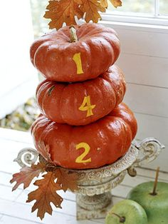 So cute for my front porch! Paint pumpkins with your house number! Love!