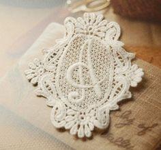 Vintage Letter A Embroidery Lace Appliques Beige by Lacebeauty, $2.99