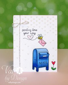 Lawn Fawn - You've Got Mail, Bee Mine, Silver Sparkle Lawn Trimmings _ totally sweet Valentine card by Valerie | Flickr - Photo Sharing!