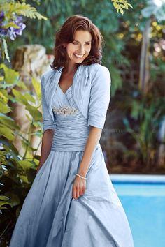 A-Line/Princess V-neck Tea-length Taffeta Mother of the Bride Dress