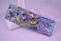 Handmade Shibori Ribbon and Swarovski Crystal Cuff by CloesCloset