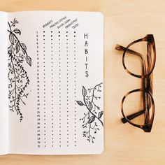 Bullet journal monthly habit tracker, flower drawings. | @journautical
